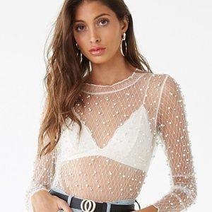 NWT Sheer Faux Pearl-Embellished Bodysuit